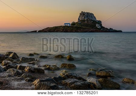 A little island Kastri near Kos island in the time of sunrise Dodecanese Greece.