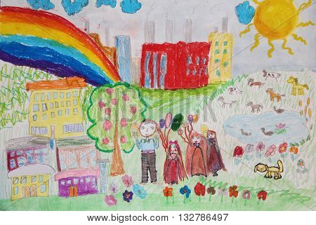 Children's drawing. Preschoolers from the kindergarden on the walk