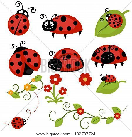 Set of vector red ladybug icons and flowers.