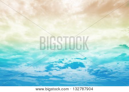 Beautiful cloudy blue sky in summer on sunny day
