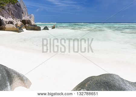 Tropical White Beach In La Digue, Seychelles