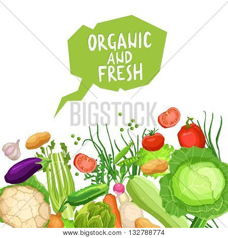 Flat Vegetables Background With Bubble And Text. Organic And Fresh Vegetables. Healthy And Vegetarian Food Concept. Healthy Lifestyle