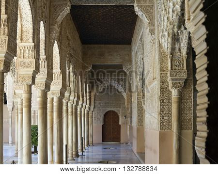 The Patio of the Lions of Alhambra Granada