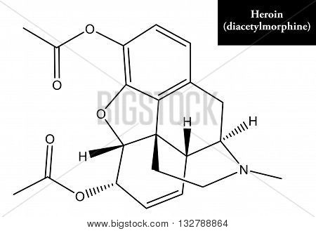 Molecular structure of Heroin - drug and opoid pain killer