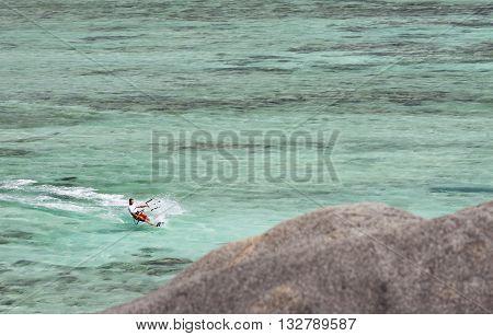 Kitesurfer In La Digue, Seychelles, Editorial