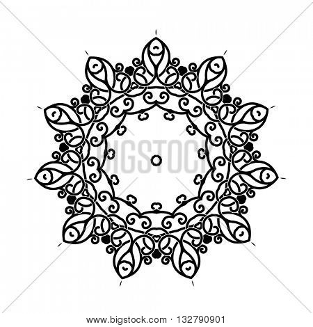 Vector circular ornament. Mandala design. Isolated on white.