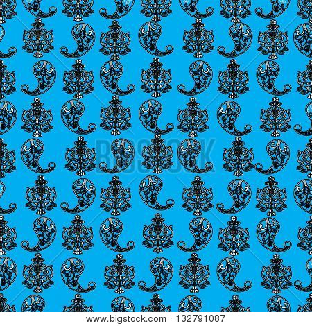 Seamless vintage pattern from Persian ornament Buta. Silver Persian ornament with black gentle contour is on the turquoise background. Can be scaled to any size.