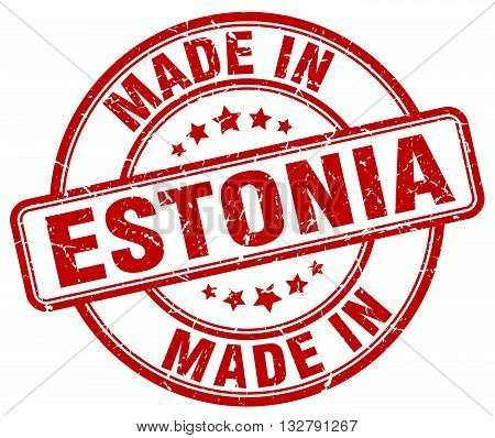 made in Estonia red round vintage stamp.Estonia stamp.Estonia seal.Estonia tag.Estonia.Estonia sign.Estonia.Estonia label.stamp.made.in.made in.