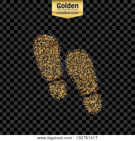 Gold glitter vector icon of footprint isolated on background. Art creative concept illustration for web, glow light confetti, bright sequins, sparkle tinsel, abstract bling, shimmer dust, foil.