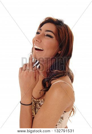 Portrait of a lovely young woman with curly brown hair laughing whit her mouth open isolated for white background.