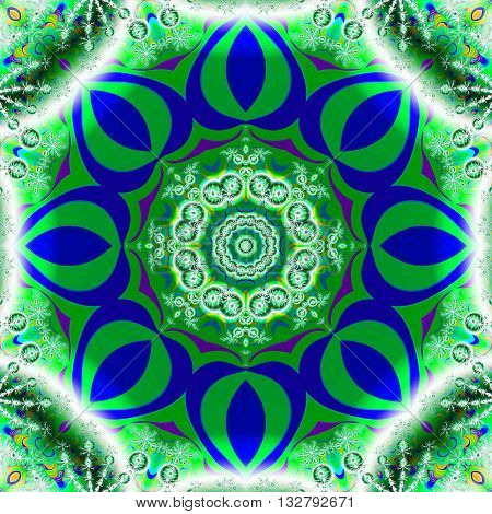 Geometrical fractal image in a vibrant green and blue octagonal shape
