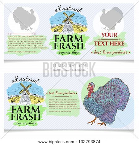 Turkey farm fresh products design template banner