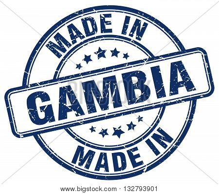 made in Gambia blue round vintage stamp.Gambia stamp.Gambia seal.Gambia tag.Gambia.Gambia sign.Gambia.Gambia label.stamp.made.in.made in.