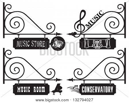 Creative street signs for the music room the shop sells musical instruments and notes conservatory.