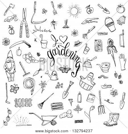 Hand drawn doodles of gardening gear. Lettering I love gardening. Tools plants pets and decorative elements for garden.