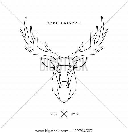 logo of deer frame head polygon illustration, geometric logo
