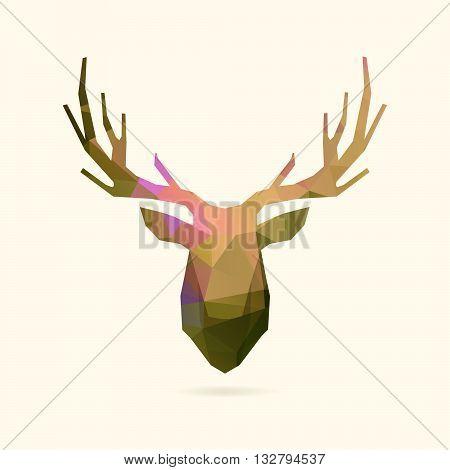 deer head polygon portrait illustration, geometric logo