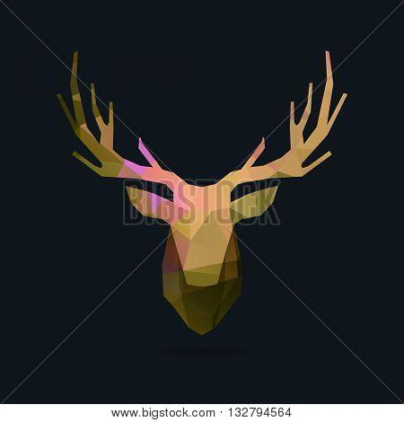 deer head polygon invert portrait illustration, geometric logo