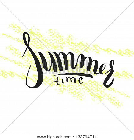 Hand drawn lettering Hello summer on yellow pencil strokes.