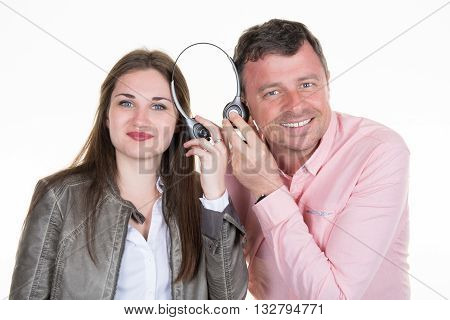 Couple Two Friends With Big Headphones Listening To Music Mp3 Together