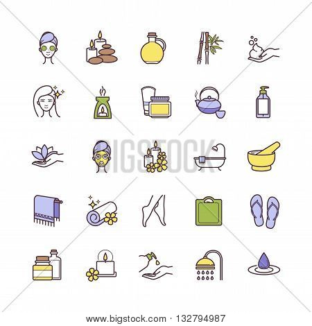 Vector Spa and Beauty thin line icons set for web, polygraphy, etc.