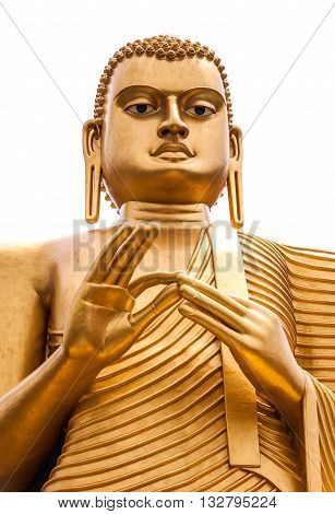 Isolated Buddha statue in Colombo Sri Lanka. Vertical image