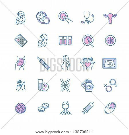 Vector icon set of fertilization, pregnancy and motherhood. Gynecology, childbirth healthcare thin line symbols for web design, layout, etc.