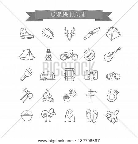 vector camping summer icons set for your design