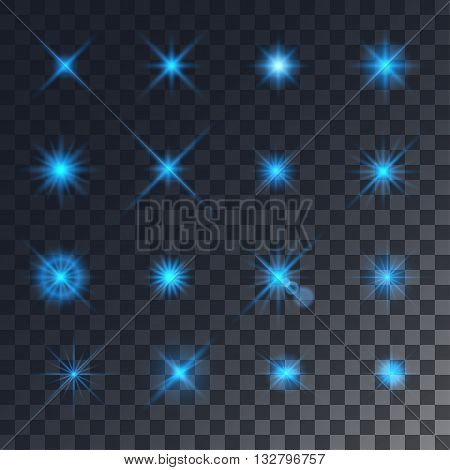 Vector lighting effects. Set of blue glints on transparent like background.