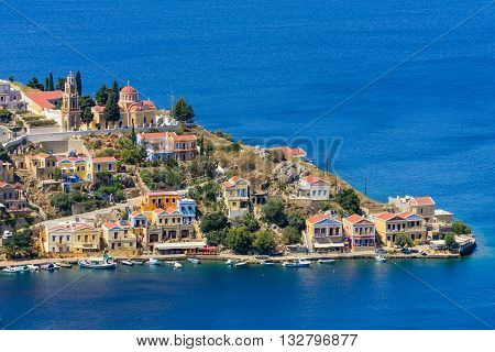 Colourful houses of Symi island, Dodecanese, Greece.