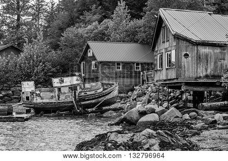 Black And White Rustic Alaskan Scene