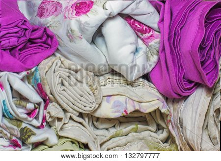 Bedding Rolls Piled Stacks In A Closet, Cabinet Furniture For Home And Home Textile Interior, Colorf