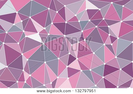 Background triangulation, Pink color. Polygonal background. Abstract form with connected lines and dots. Multicolor geometric rumpled triangular low poly style gradient illustration graphic