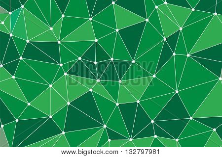 Background polygon. Green color. Abstract geometric background with polygons. Molecule and communication background. Background triangulation dots