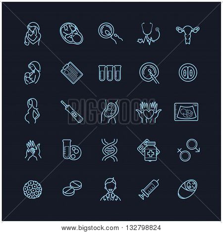 fertilization, pregnancy and motherhood vector icon set. Gynecology, childbirth healthcare thin line symbols on a black background for web design, layout, etc.