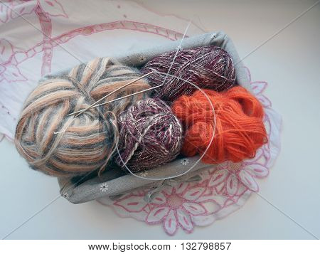 Threads for needlework, knitting designed for hands on the spokes