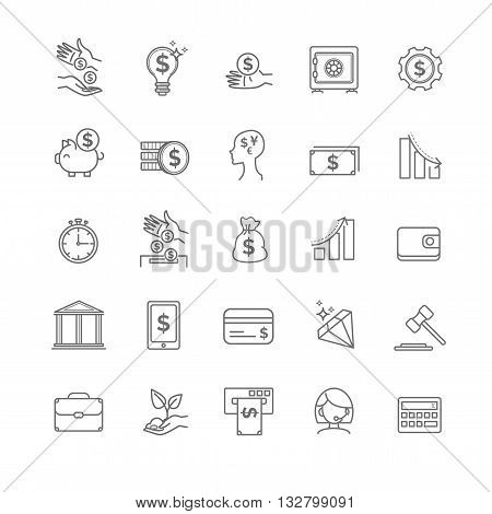 busines, money and finance vector thin line icon set for your design