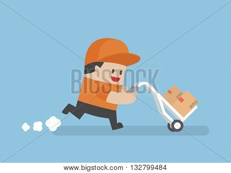 Delivery Man Delivering Cardboard Boxes By Cart