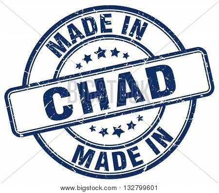 made in Chad blue round vintage stamp.Chad stamp.Chad seal.Chad tag.Chad.Chad sign.Chad.Chad label.stamp.made.in.made in.