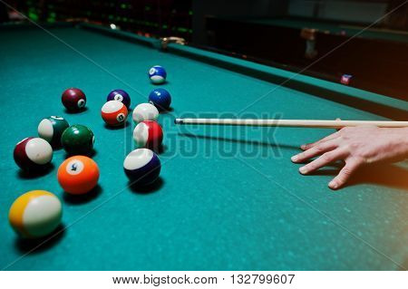 Hand Man Holding Billiard Cue To Shoot Balls