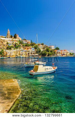 The picturesque coast of the island of Symi, a popular tourist destination, Symi island, Dodecanese, Greece.