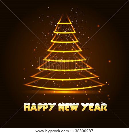 Happy New Year vector illustration with Xmas tree, glowing in the dark vector