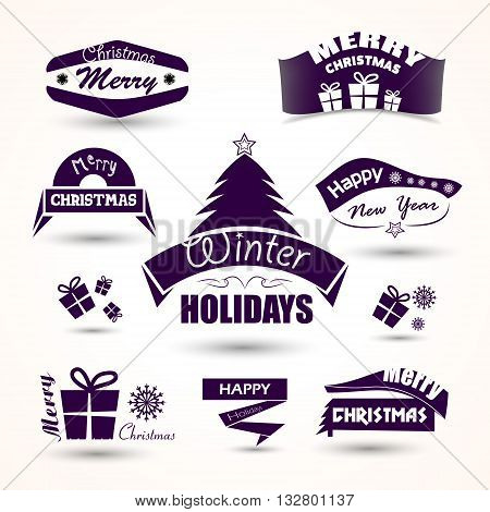 Christmas and new year set of icons tree, gift vector