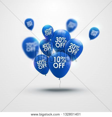 Trendy beautiful background with blue baloons and discounts vector