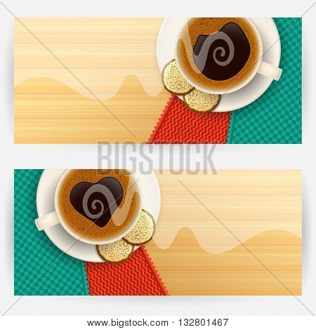Two backgrounds with coffee cups and cookies, light steam above cups, on wooden table top. Favorite drink concept. Horizontally elongated rectangular backgrounds