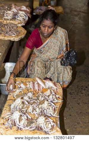 Pondicherry, INDIA - February 21, 2014. Unknown people selling fish at a street market, main daily market.