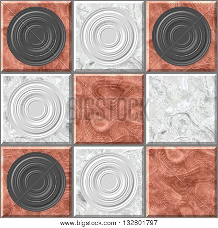 Seamless pattern. Checkers. Ancient Intellectual board game. Chess board. Vintage chess board background. Illustration of grunge checker board, abstract background. 3D illustration
