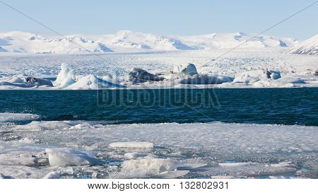 Jakulsarlon lagoon during winter, Iceland natural winter landscape background