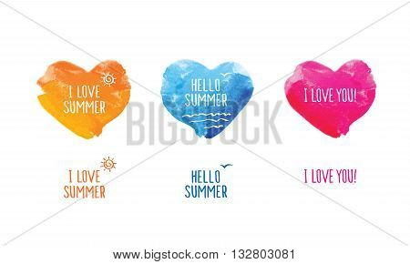 Hello summer. I love summer. I love you! Symbol of summer. Blue, yellow and pink watercolor hearts. Doodles, sketch for your design.