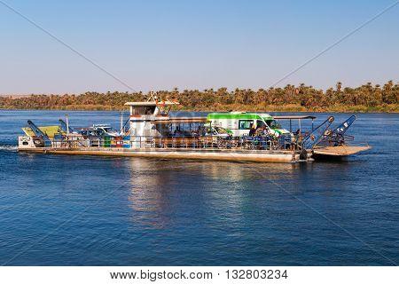 NILE, EGYPT - FEBRUARY 9, 2016: Car ferry over the nile.